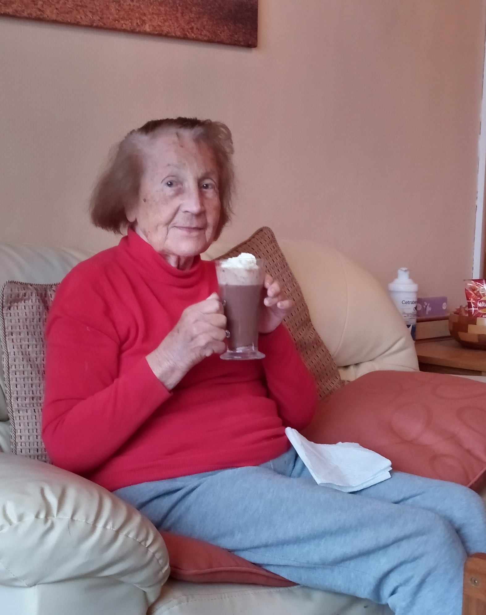 Hot Chocolate for one of our Home Care Clients!